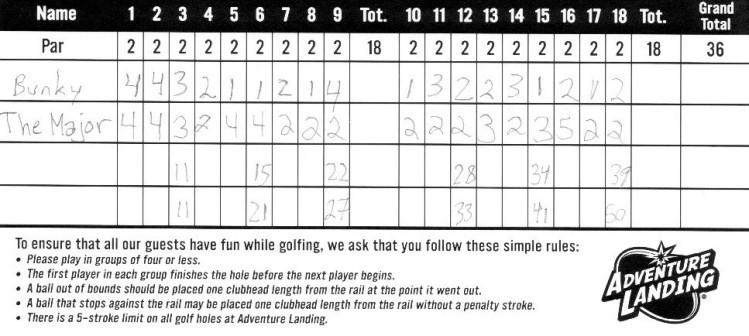 Miniature Golf Score Card